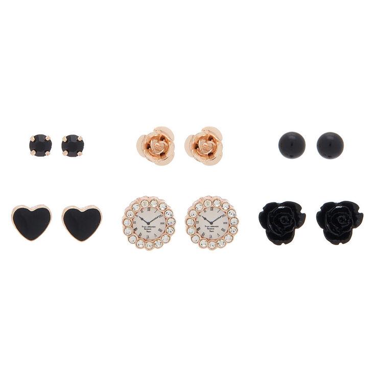 Rose Gold Mixed Stud Earrings - Black, 6 Pack,