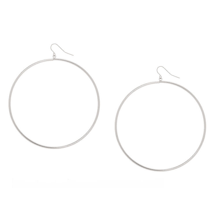 Silver 80MM Hoop Drop Earrings,