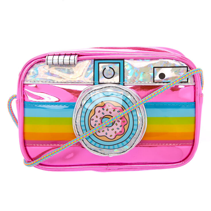 Neon Rainbow Camera Crossbody Bag