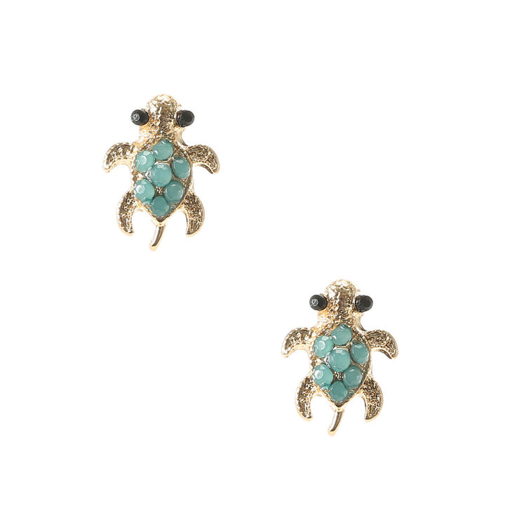 Gold Turtle Turquoise Stone Stud Earrings