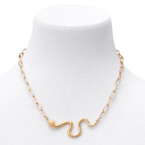 Collier audacieux chaîne épaisse serpent couleur dorée,