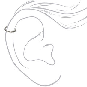 Anneau pour piercing de cartilage torsadé 16g couleur argentée,