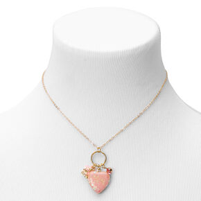 Claire's Club Pink Heart Locket Pendant Necklace - Gold,