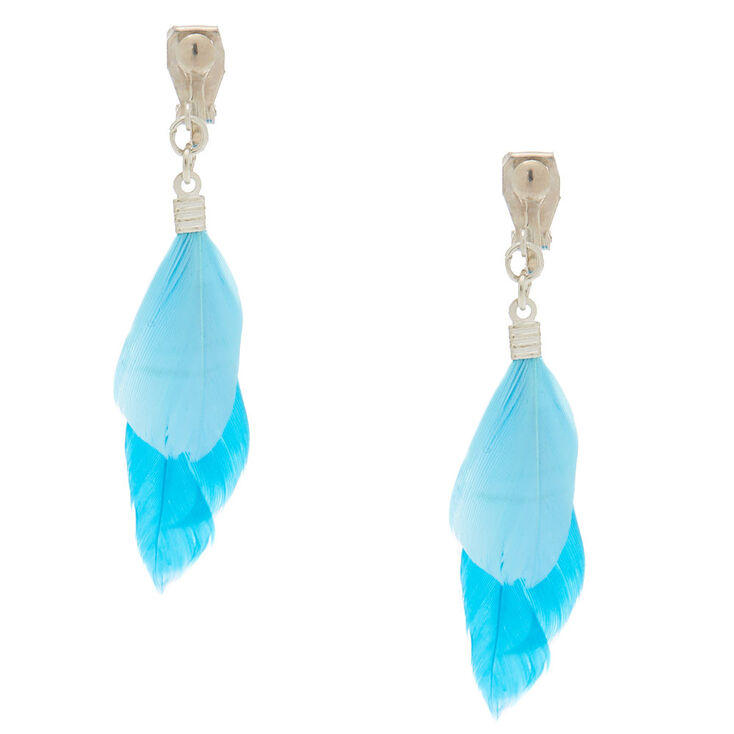 2 Feather Clip On Drop Earrings Blue Claire S