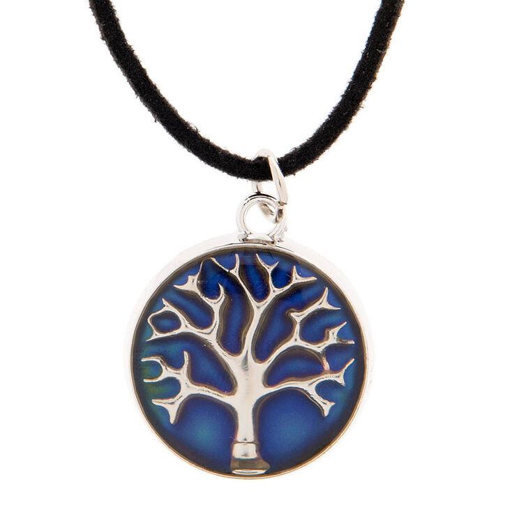 Tree of life mood pendant on black cord necklace claires us tree of life mood pendant on black cord necklace aloadofball Choice Image