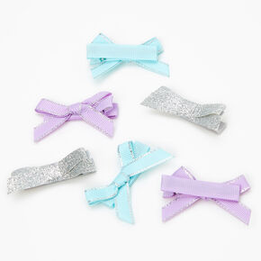 Claire's Club Pastel Glitter Hair Bow Clips - 6 Pack,