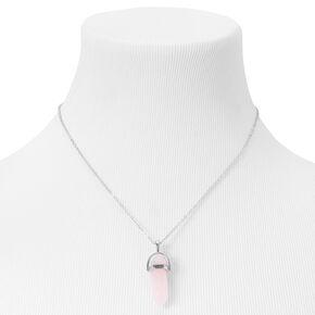 Collier à pendentif avec faux cristal de guérison qui brille dans le noir - Rose,
