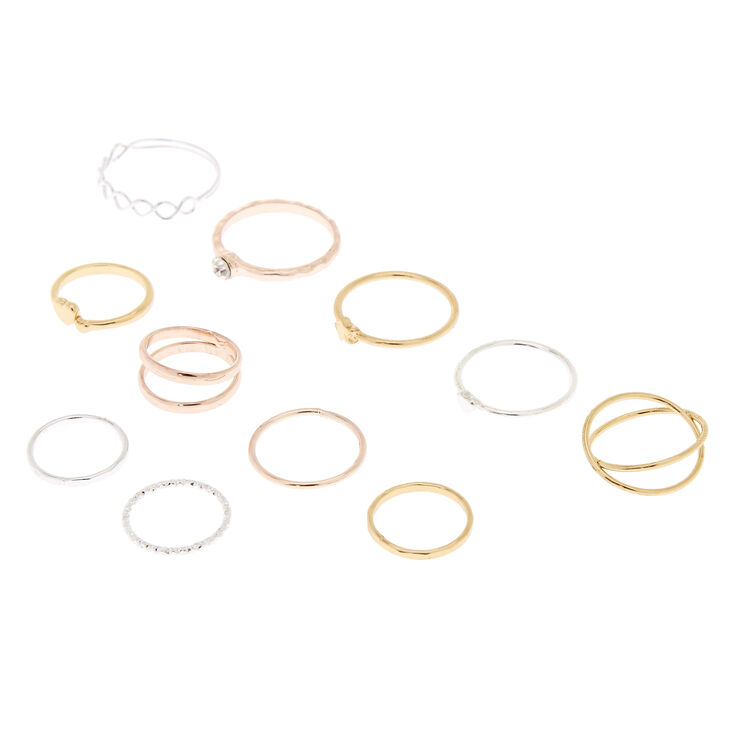 Mixed Metal Heart Star Rings - 11 Pack,