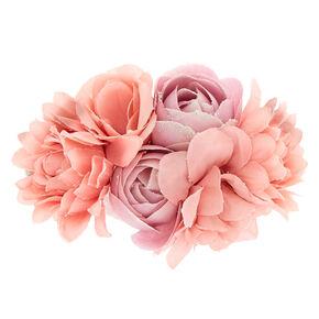Glitter Flower Hair Barrette - Blush,