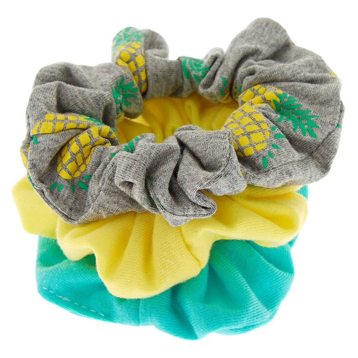Small Neon Pineapple Hair Scrunchies - Yellow, 3 Pack,