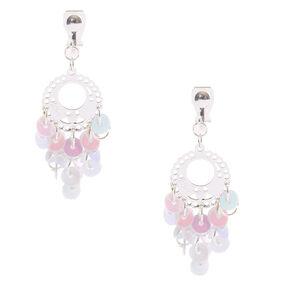1 5 Iridescent Sequin Chandelier Clip On Drop Earrings