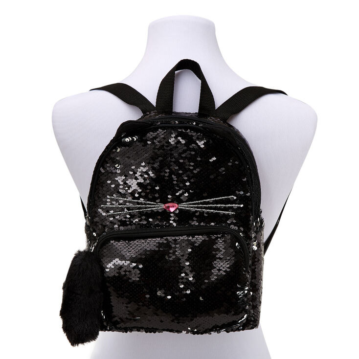 Sequin Cat Small Backpack - Black,