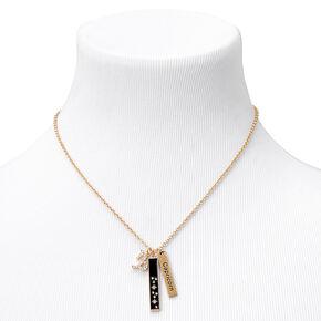 Gold Rectangular Zodiac Pendant Necklace - Capricorn,
