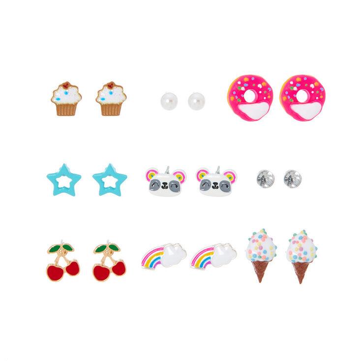 Rainbow Sweets & Panda Stud Earring Set - 9 Pack,