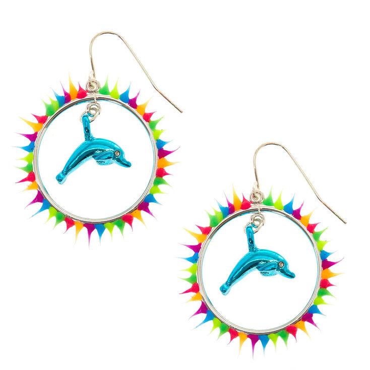 Rainbow Hoop & Dolphin Earrings,
