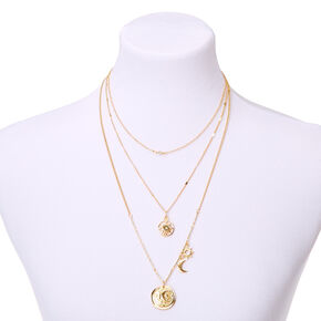 Gold Celestial Multi Strand Necklace,