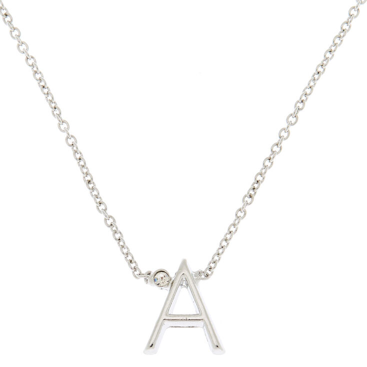 Silver Stone Initial Pendant Necklace - A,