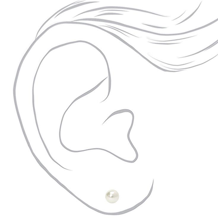 Clous d'oreilles perles d'imitation 6mm en argent,