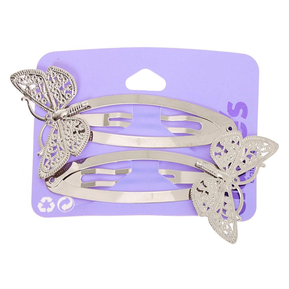 Leopard Print /& Diamanté Butterfly Hair Clips Set 2 x Clips