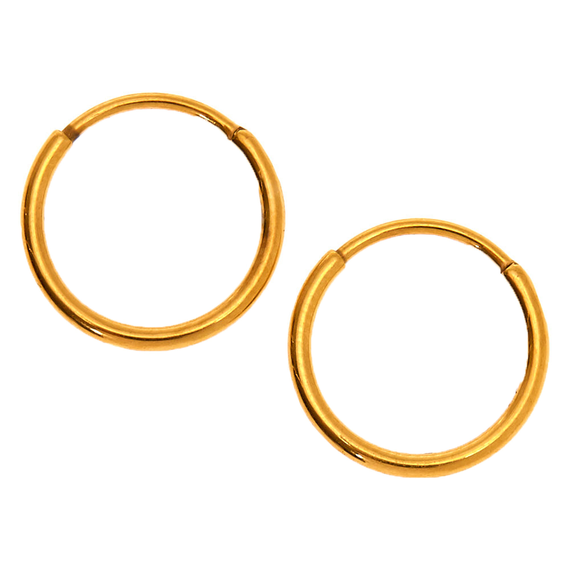 Gold Anium 10mm Sleek Hoop Earrings