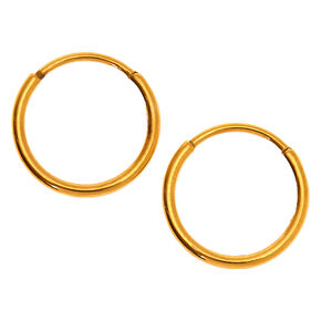 Gold Titanium 10MM Sleek Hoop Earrings,