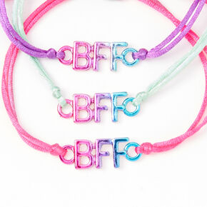 Pink, Purple & Mint Anodized Adjustable Friendship Bracelets - 3 Pack,