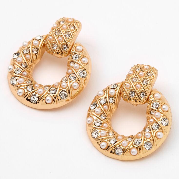 "Gold 1"" Crystal Pearl Circle Door Knocker Drop Earrings,"