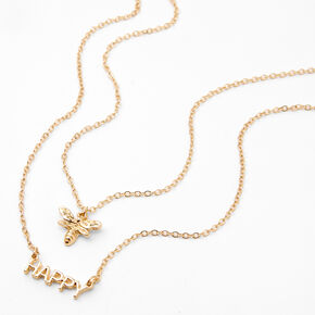 "Gold ""Bee Happy"" Multi Strand Pendant Necklace,"