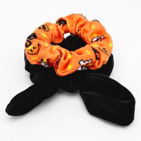 Petits chouchous à nœud noué en imitation velours noir avec icônes effrayantes - Lot de 2,