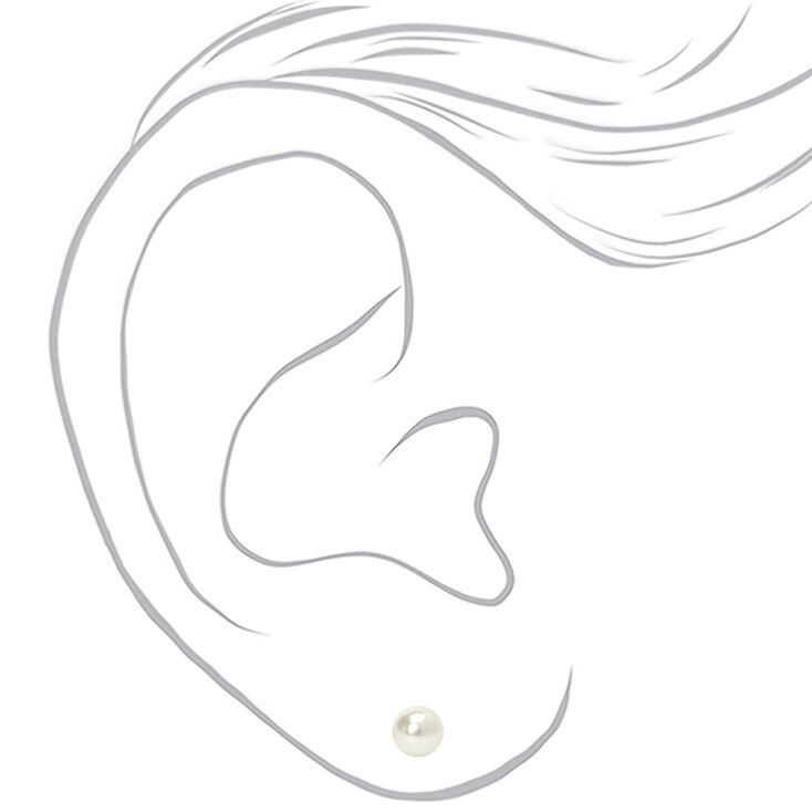 Sterling Silver 6MM Pearl Stud Earrings,