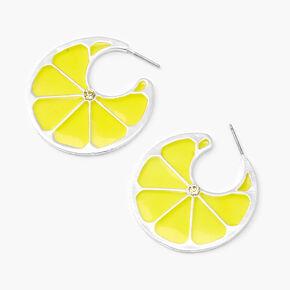 Silver Lemon Hoop Earrings - Yellow,
