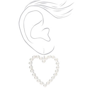 "Silver 1.5"" Pearl Open Heart Drop Earrings,"