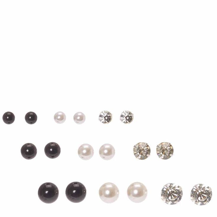 Graduated Crystal, White & Black Pearl Stud Earrings - 9 Pack,