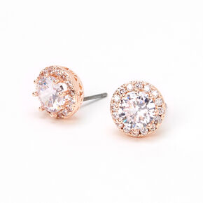 Rose Gold Round Cubic Zirconia Halo Stud Earrings,