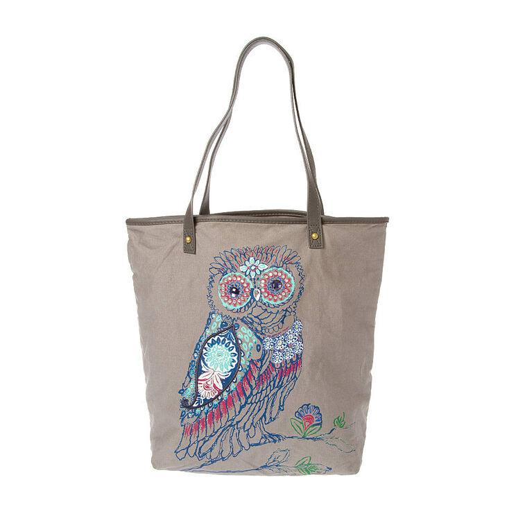 Gray Embellished Owl Tote Bag