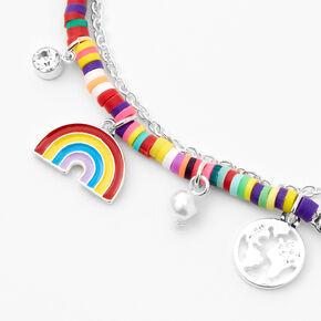 Silver Rainbow Disc & Mixed Charm Double Chain Bracelet,