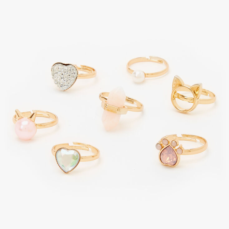 Claire's Club Rose Gold Cat Gemstone Rings - 7 Pack,