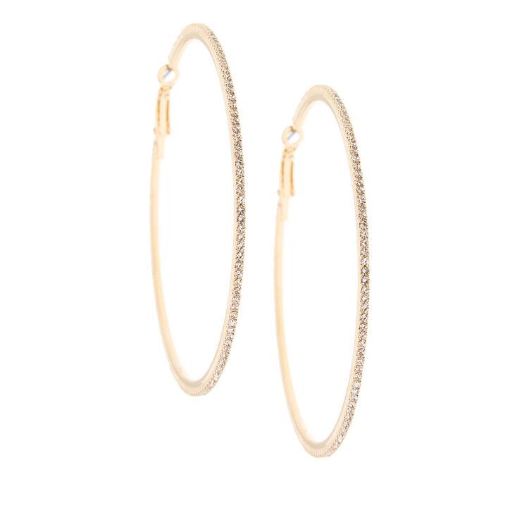 Gold 70MM Glass Rhinestone Hoop Earrings,