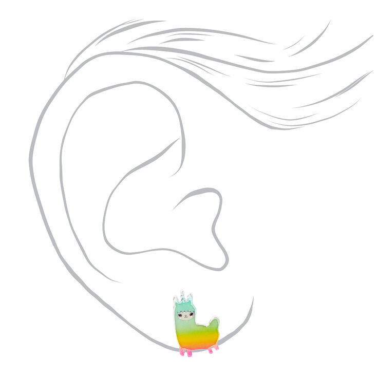 Rainbow Llamacorn Stud Earrings - 3 Pack,