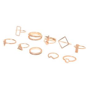 Bagues géométriques pailletées couleur doré rose - Lot de 10,