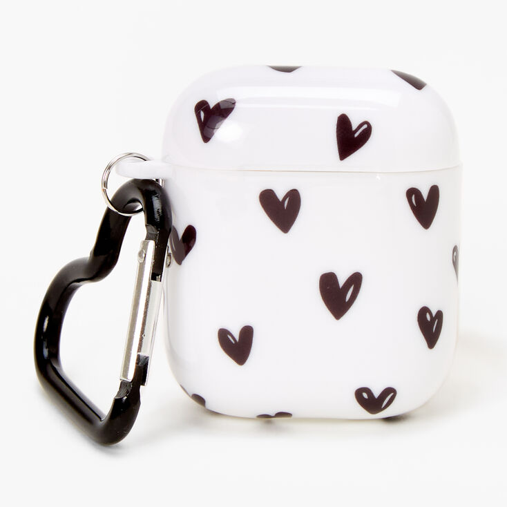 Black and White Hearts Silicone Earbud Case Cover - Compatible with Apple AirPods,