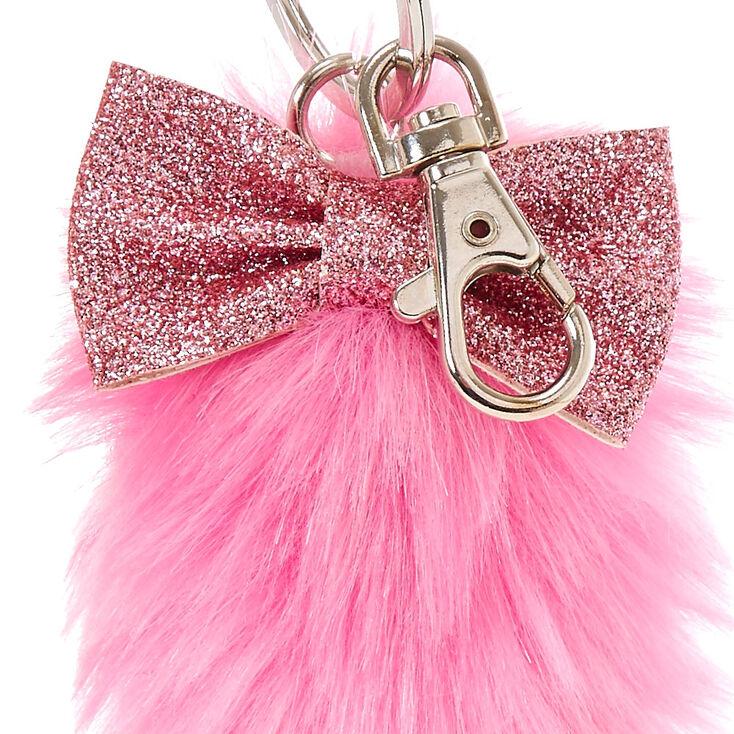Porte-clés avec queue de renard en peluche rose et blanc,