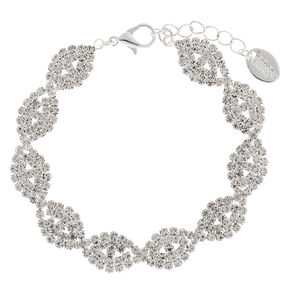 Silver Rhinestone Twisted Infinity Chain Bracelet,