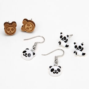 Panda Bear Mixed Earring Set - 3 Pack,