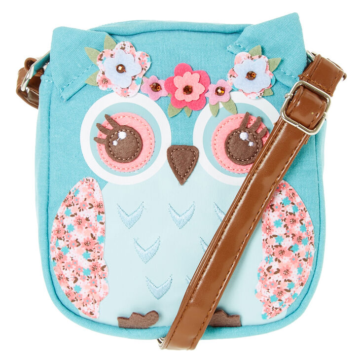 Claire S Club Hazel The Owl Crossbody Purse Teal