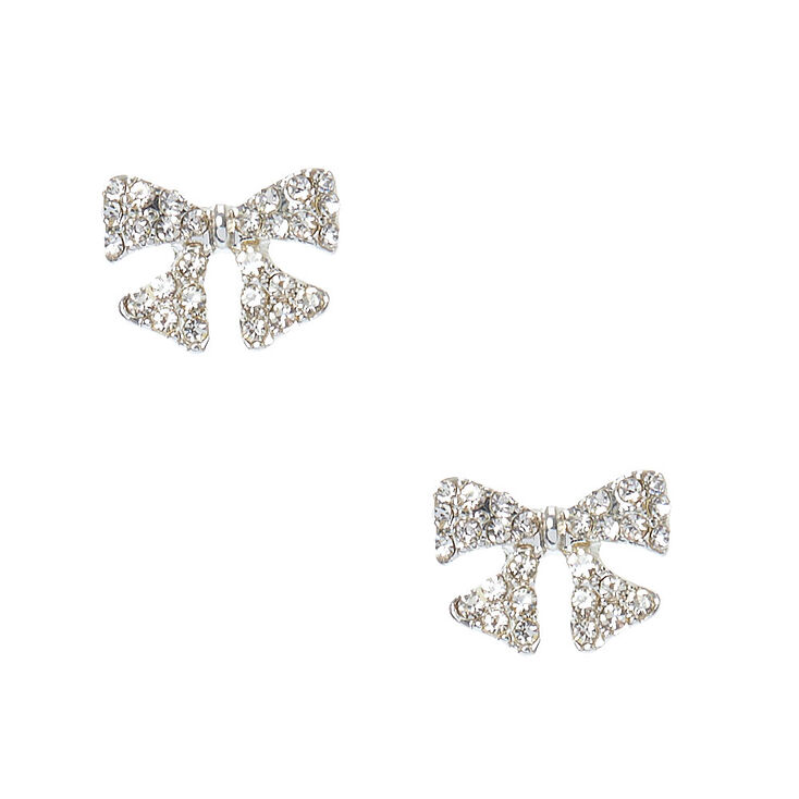 7c26525a1 Bow Stud Earrings Bamoer Delicate 100 925 Sterling Silver Sparkling ...