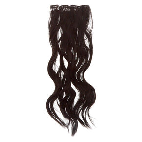 Wavy Faux Hair Clip On Extensions - Black, 4 Pack,