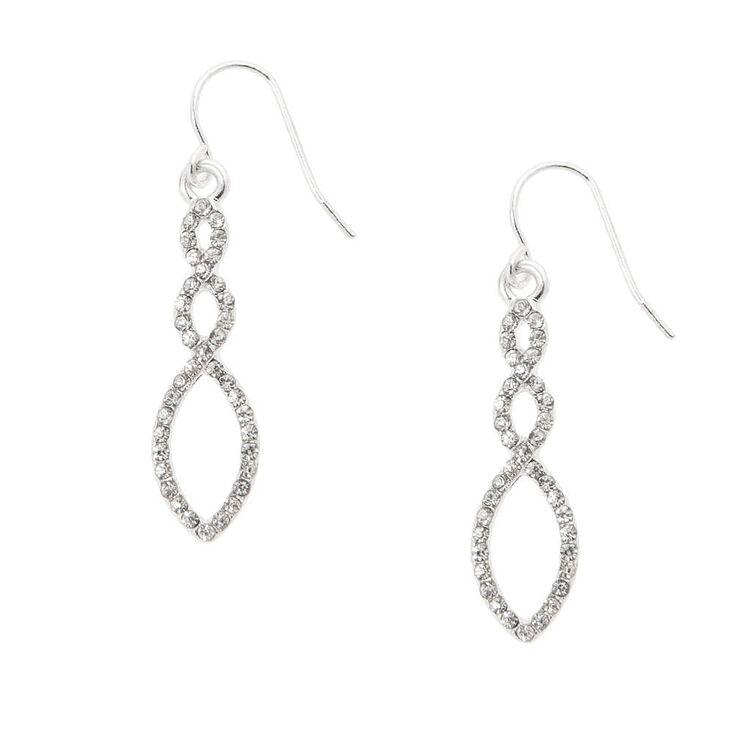 """Silver 1.5"""" Rhinestone Infinity Twist Drop Earrings,"""