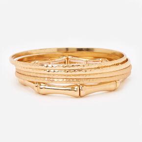 Bracelets fins bangle style bambou martelés couleur dorée - Lot de 5,