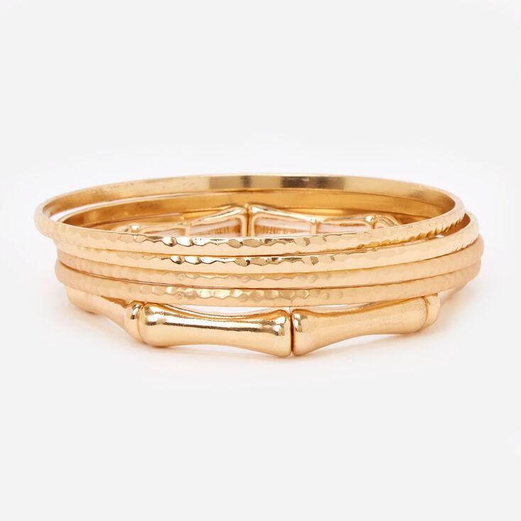 Gold Hammered Bamboo Bangle Bracelets - 5 Pack,